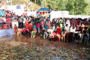 Devotees thronging at Matatirtha on Matatirtha Aunsi