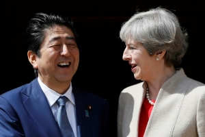 Britain's May visits Japan with eye on Brexit fears
