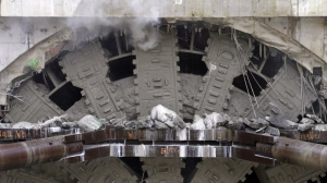 Seattle tunnel machine reaches end of long, troubled journey