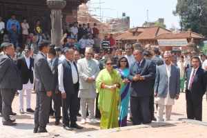 President Bhandari inspects heritages at Bhaktapur Durbar Square