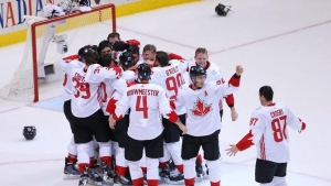 Canada wins world cup, rallying to beat Europe 2-1
