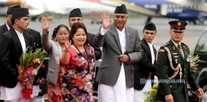 PM Deuba leaves on a state visit to India