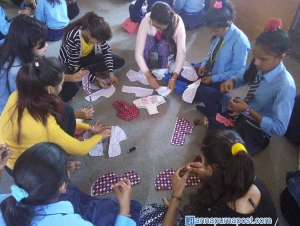 Nepali girl students learn to make their own sanitary pads